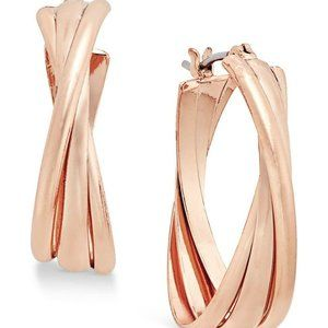 Charter Club Triple Twists Hoop Earrings Rose Gold
